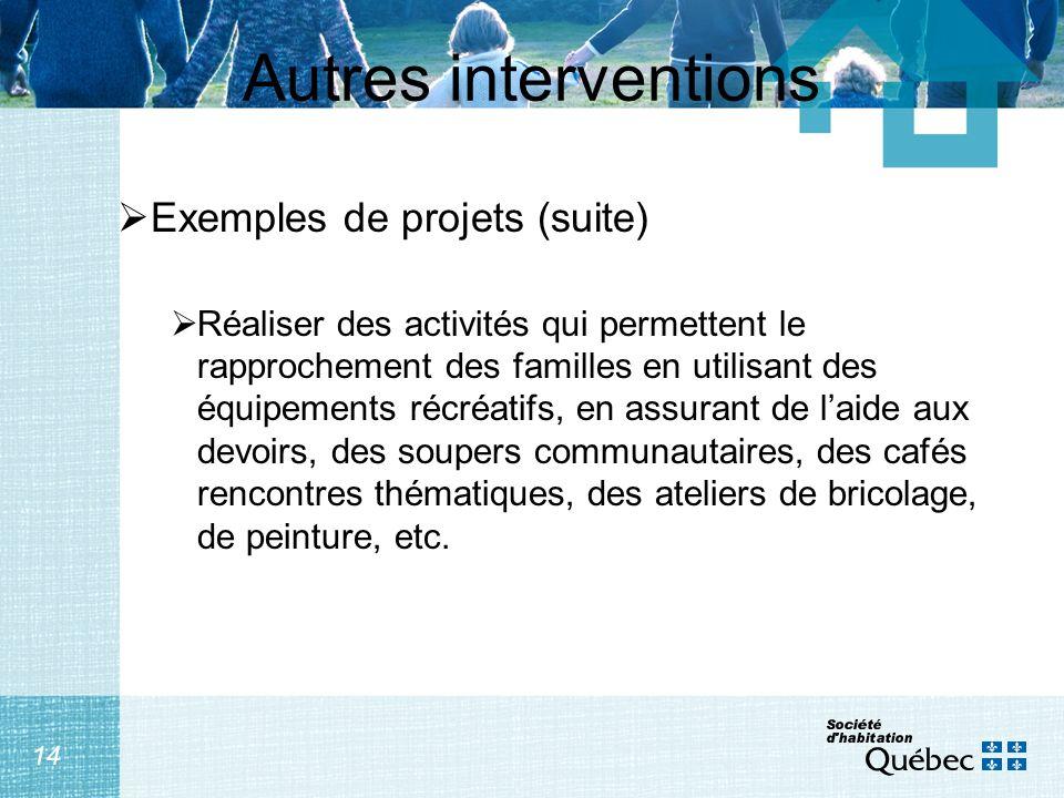 14 Autres interventions Exemples de projets (suite) Réaliser des activités qui permettent le rapprochement des familles en utilisant des équipements r