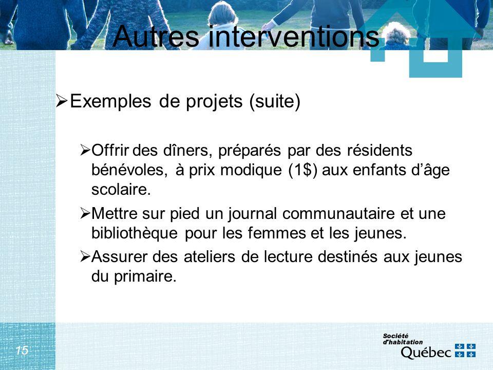 15 Autres interventions Exemples de projets (suite) Offrir des dîners, préparés par des résidents bénévoles, à prix modique (1$) aux enfants dâge scolaire.