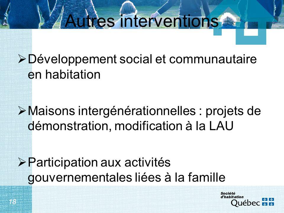 18 Autres interventions Développement social et communautaire en habitation Maisons intergénérationnelles : projets de démonstration, modification à la LAU Participation aux activités gouvernementales liées à la famille