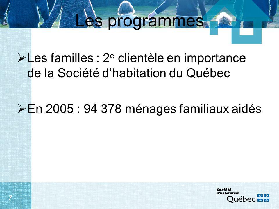 8 Les programmes ProgrammesNombre de ménages ou de logements HLM publics26 613 HLM publics - Inuits2 058 HLM privés – COOP/OBNL 2 223 HLM privés – Autochtones hors-rés.