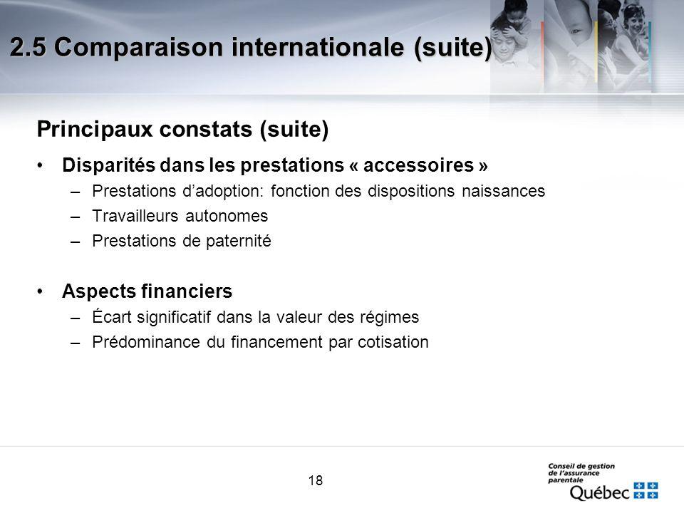 18 Principaux constats (suite) Disparités dans les prestations « accessoires » –Prestations dadoption: fonction des dispositions naissances –Travaille