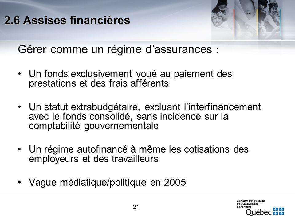21 2.6 Assises financières Gérer comme un régime dassurances : Un fonds exclusivement voué au paiement des prestations et des frais afférents Un statu
