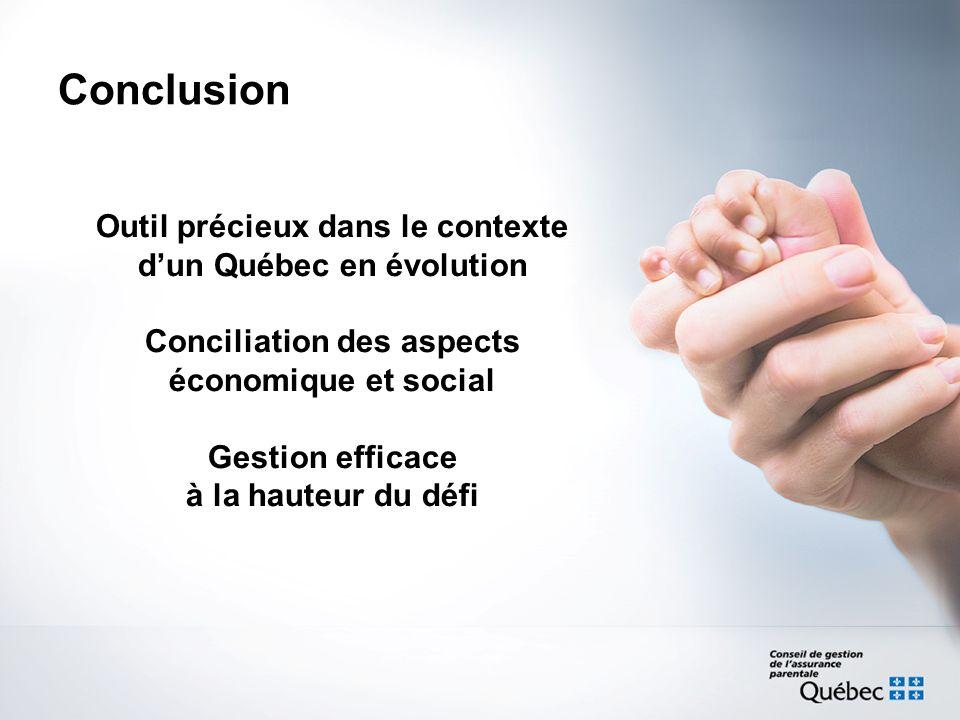 Outil précieux dans le contexte dun Québec en évolution Conciliation des aspects économique et social Gestion efficace à la hauteur du défi Conclusion