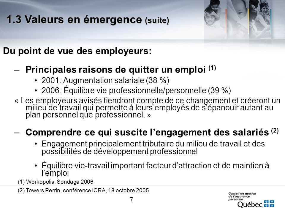 7 Du point de vue des employeurs: –Principales raisons de quitter un emploi (1) 2001: Augmentation salariale (38 %) 2006: Équilibre vie professionnell