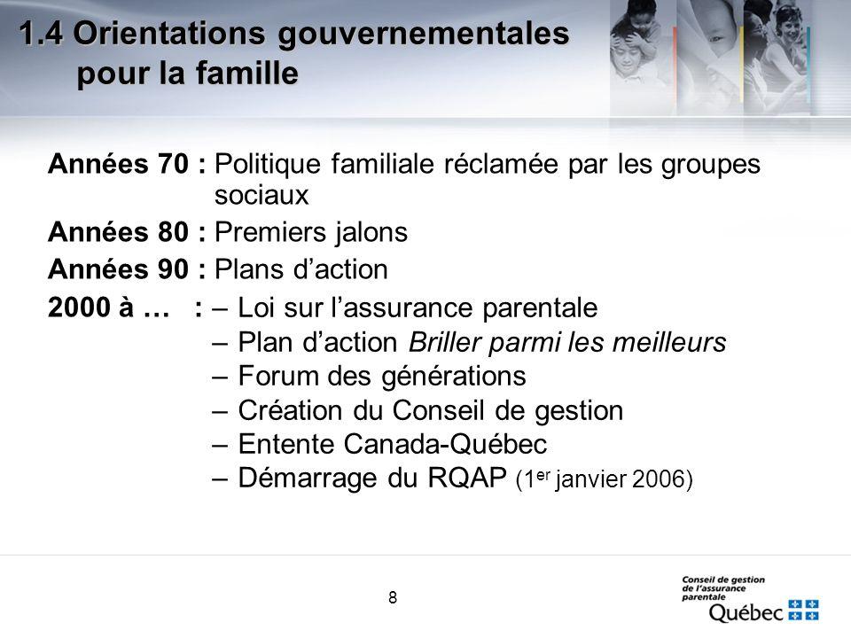 8 Années 70 : Politique familiale réclamée par les groupes sociaux Années 80 : Premiers jalons Années 90 : Plans daction 2000 à … : 1.4 Orientations g