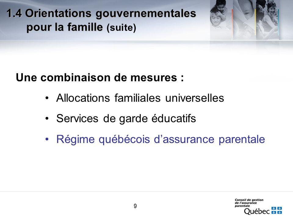 9 Une combinaison de mesures : Allocations familiales universelles Services de garde éducatifs Régime québécois dassurance parentale 1.4 Orientations gouvernementales pour la famille 1.4 Orientations gouvernementales pour la famille (suite)