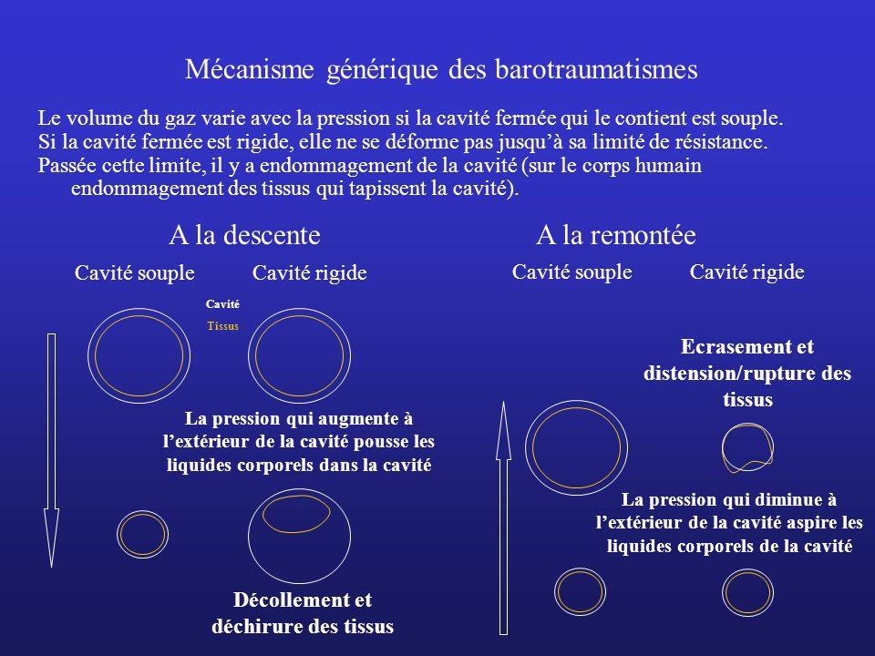 Mécanisme générique des barotraumatismes Le volume du gaz varie avec la pression si la cavité fermée qui le contient est souple. Si la cavité fermée e