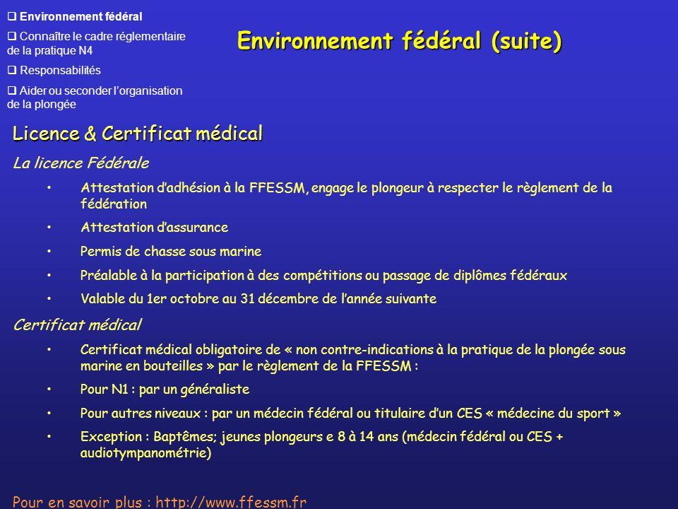 Environnement fédéral Connaître le cadre réglementaire de la pratique N4 Responsabilités Aider ou seconder lorganisation de la plongée Licence & Certi