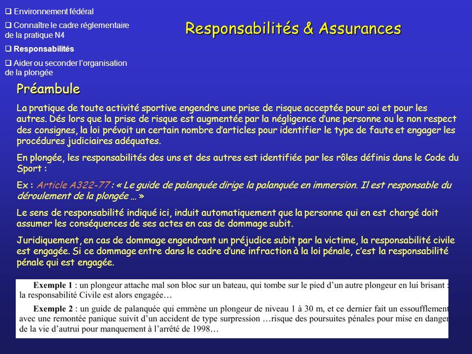 Environnement fédéral Connaître le cadre réglementaire de la pratique N4 Responsabilités Aider ou seconder lorganisation de la plongée Responsabilités