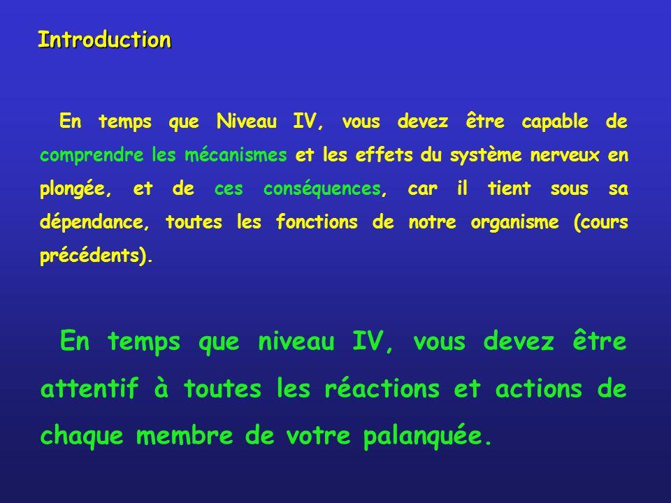 Introduction En temps que Niveau IV, vous devez être capable de comprendre les mécanismes et les effets du système nerveux en plongée, et de ces conséquences, car il tient sous sa dépendance, toutes les fonctions de notre organisme (cours précédents).