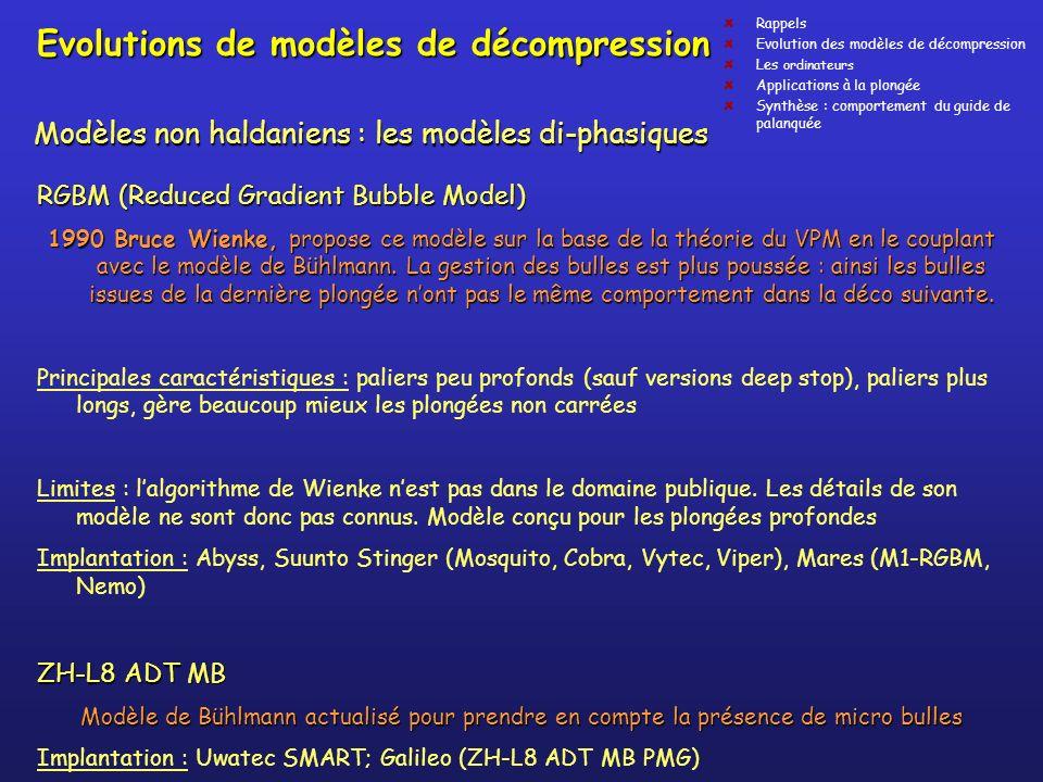 Evolutions de modèles de décompression RGBM (Reduced Gradient Bubble Model) 1990 Bruce Wienke, propose ce modèle sur la base de la théorie du VPM en l