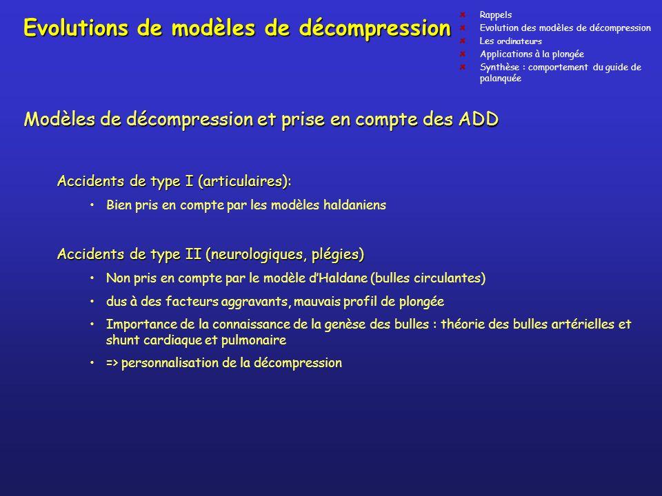 Evolutions de modèles de décompression Modèles de décompression et prise en compte des ADD Accidents de type I (articulaires): Bien pris en compte par
