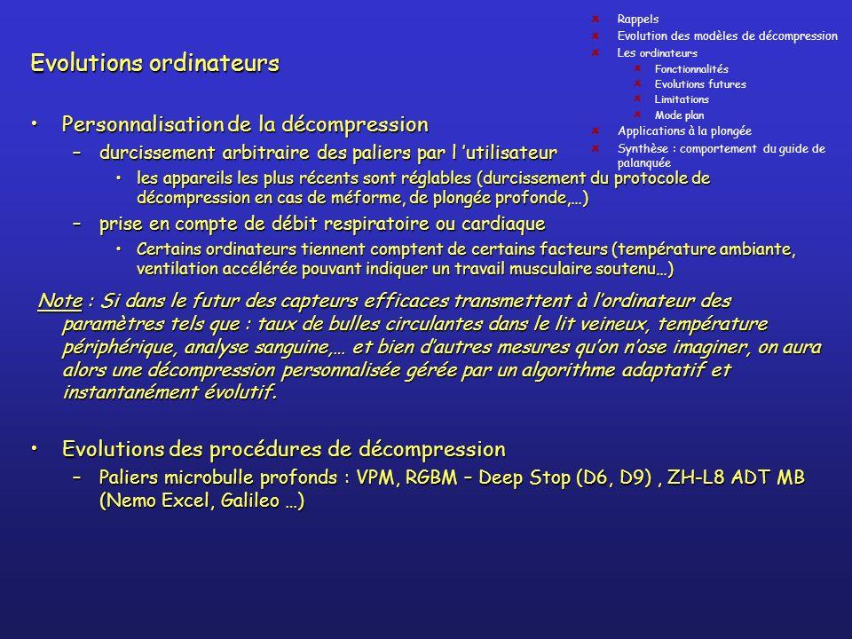Evolutions ordinateurs Personnalisation de la décompressionPersonnalisation de la décompression –durcissement arbitraire des paliers par l utilisateur
