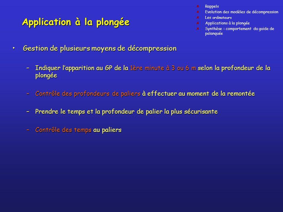 Application à la plongée Gestion de plusieurs moyens de décompressionGestion de plusieurs moyens de décompression –Indiquer lapparition au GP de la 1è