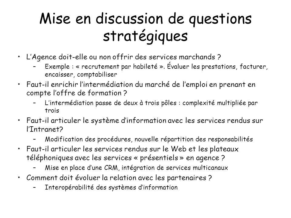 Mise en discussion de questions stratégiques LAgence doit-elle ou non offrir des services marchands ? –Exemple : « recrutement par habileté ». Évaluer