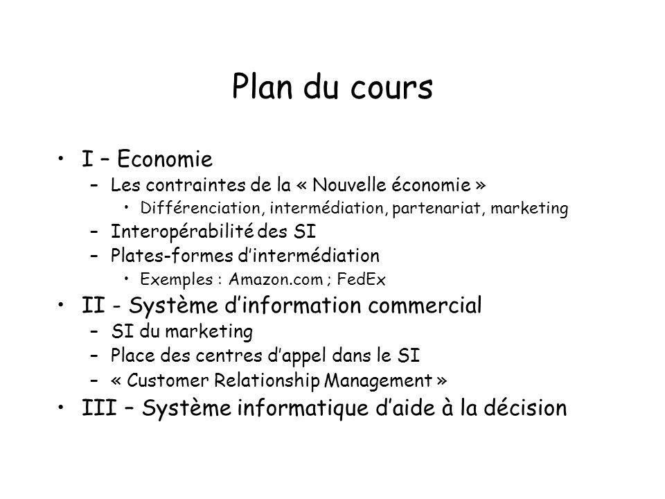 Plan du cours I – Economie –Les contraintes de la « Nouvelle économie » Différenciation, intermédiation, partenariat, marketing –Interopérabilité des