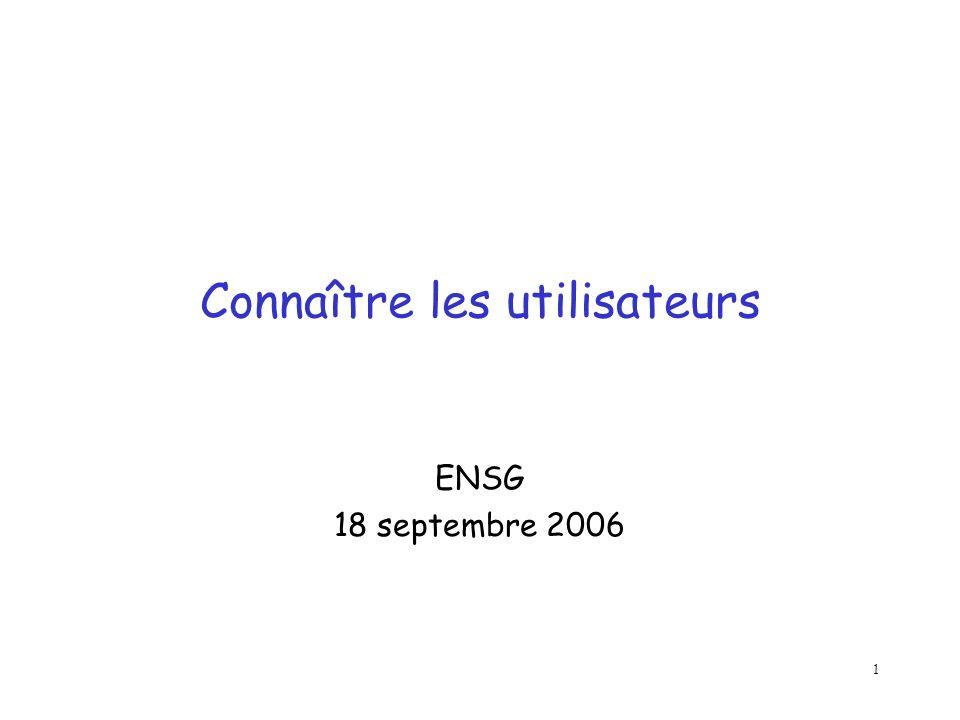 1 Connaître les utilisateurs ENSG 18 septembre 2006