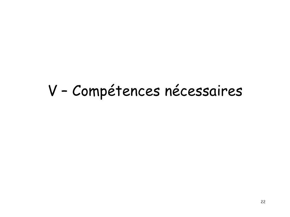 22 V – Compétences nécessaires