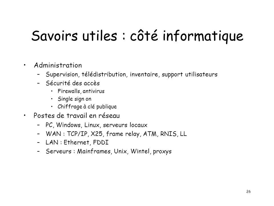 26 Savoirs utiles : côté informatique Administration –Supervision, télédistribution, inventaire, support utilisateurs –Sécurité des accès Firewalls, a
