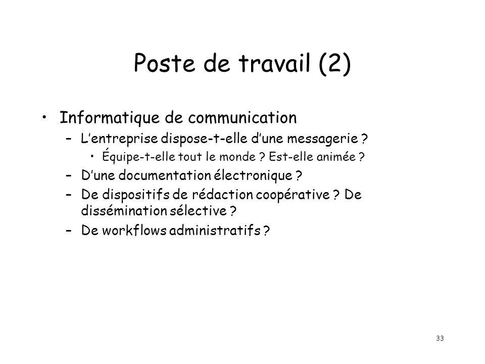 33 Poste de travail (2) Informatique de communication –Lentreprise dispose-t-elle dune messagerie ? Équipe-t-elle tout le monde ? Est-elle animée ? –D