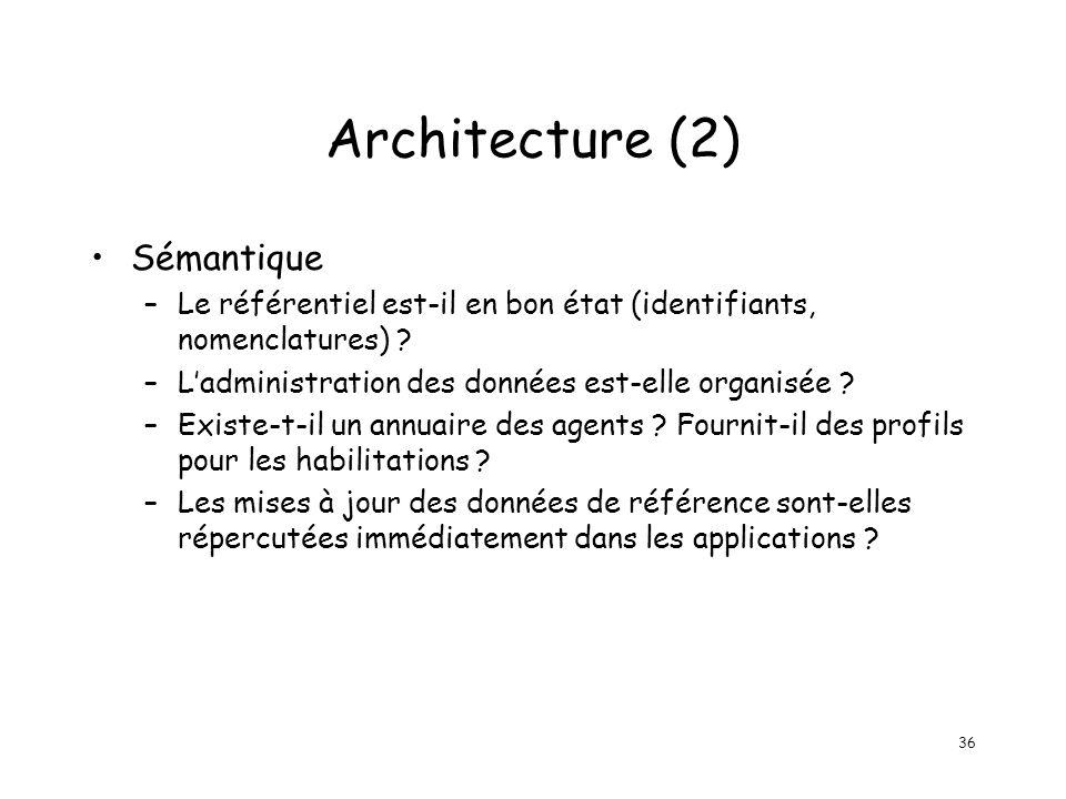 36 Architecture (2) Sémantique –Le référentiel est-il en bon état (identifiants, nomenclatures) ? –Ladministration des données est-elle organisée ? –E