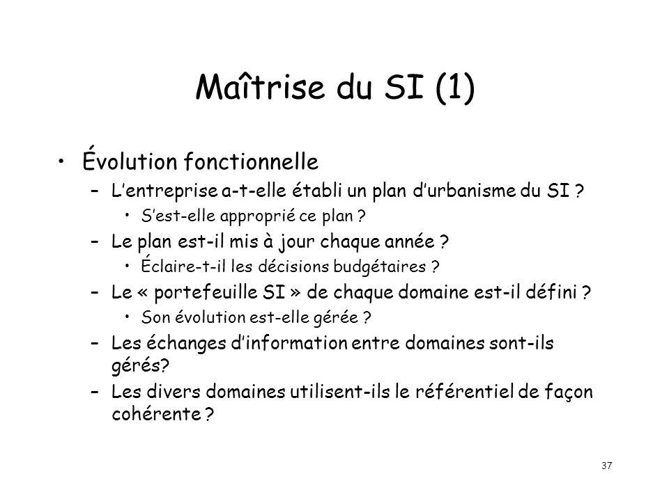 37 Maîtrise du SI (1) Évolution fonctionnelle –Lentreprise a-t-elle établi un plan durbanisme du SI .