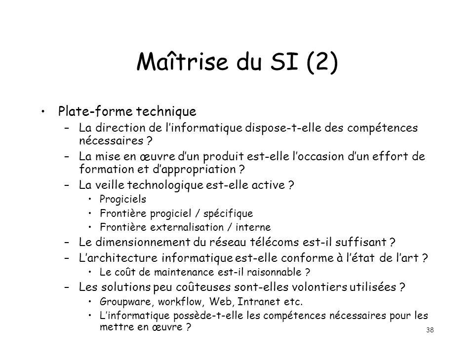 38 Maîtrise du SI (2) Plate-forme technique –La direction de linformatique dispose-t-elle des compétences nécessaires ? –La mise en œuvre dun produit