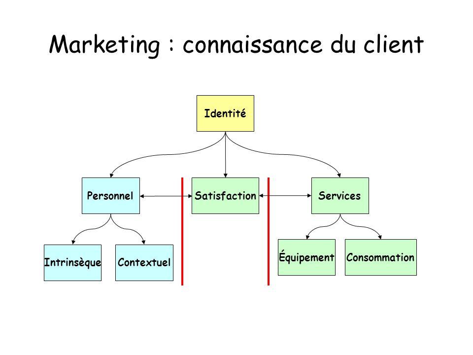 Marketing : connaissance du client IntrinsèqueContextuel Personnel Services Identité ConsommationÉquipement Satisfaction