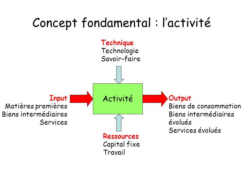 Concept fondamental : lactivité Activité Input Matières premières Biens intermédiaires Services Technique Technologie Savoir-faire Ressources Capital