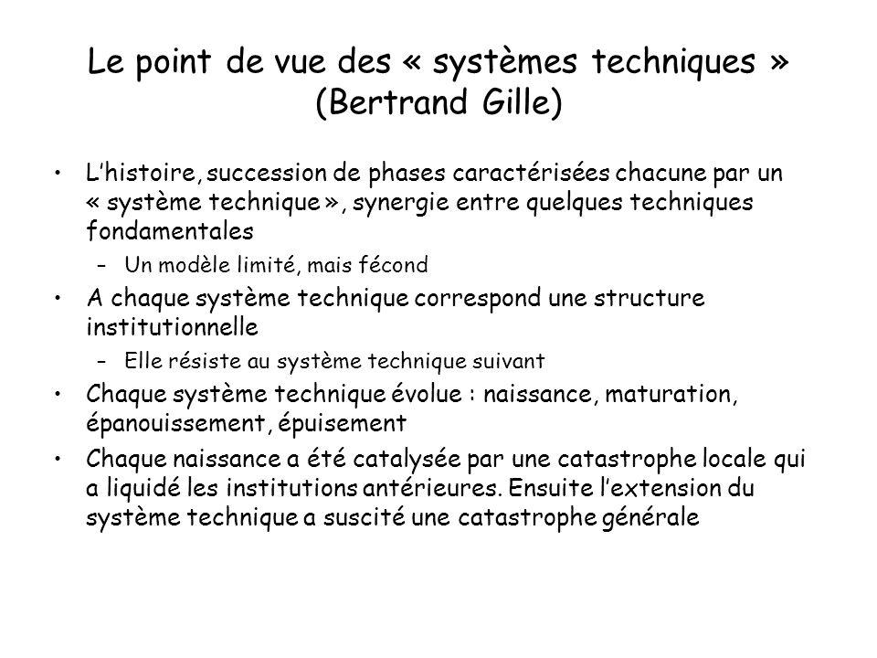 Le point de vue des « systèmes techniques » (Bertrand Gille) Lhistoire, succession de phases caractérisées chacune par un « système technique », syner