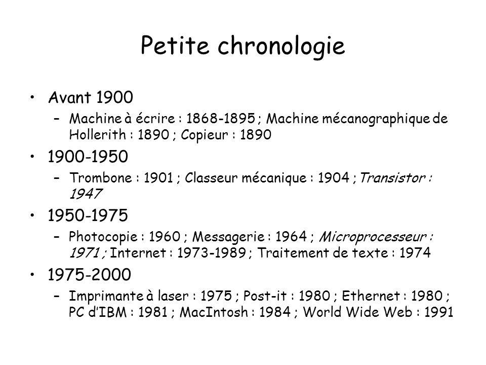 Petite chronologie Avant 1900 –Machine à écrire : 1868-1895 ; Machine mécanographique de Hollerith : 1890 ; Copieur : 1890 1900-1950 –Trombone : 1901