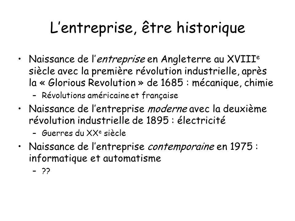 Lentreprise, être historique Naissance de lentreprise en Angleterre au XVIII e siècle avec la première révolution industrielle, après la « Glorious Re