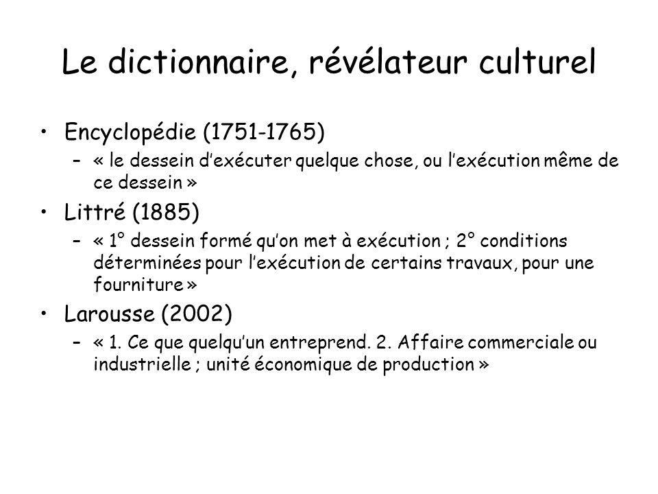 Le dictionnaire, révélateur culturel Encyclopédie (1751-1765) –« le dessein dexécuter quelque chose, ou lexécution même de ce dessein » Littré (1885)