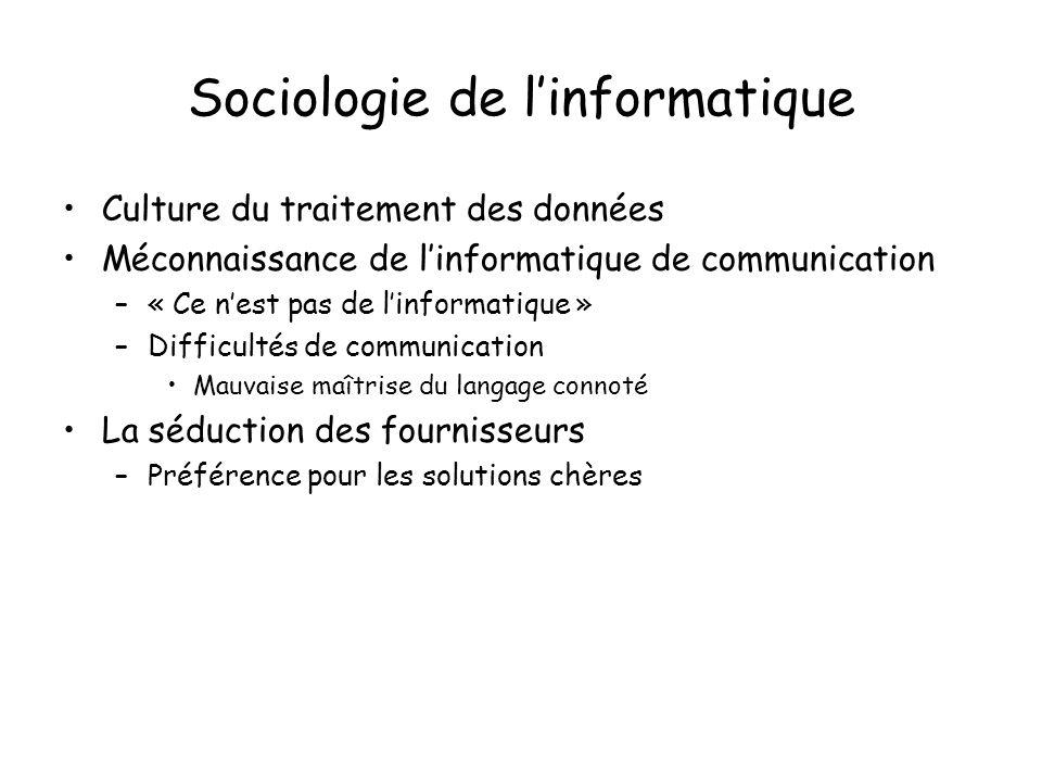 Sociologie de linformatique Culture du traitement des données Méconnaissance de linformatique de communication –« Ce nest pas de linformatique » –Difficultés de communication Mauvaise maîtrise du langage connoté La séduction des fournisseurs –Préférence pour les solutions chères