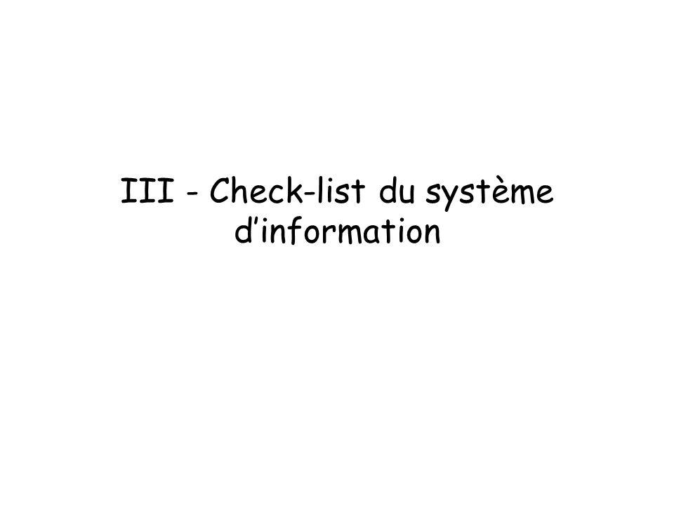 III - Check-list du système dinformation