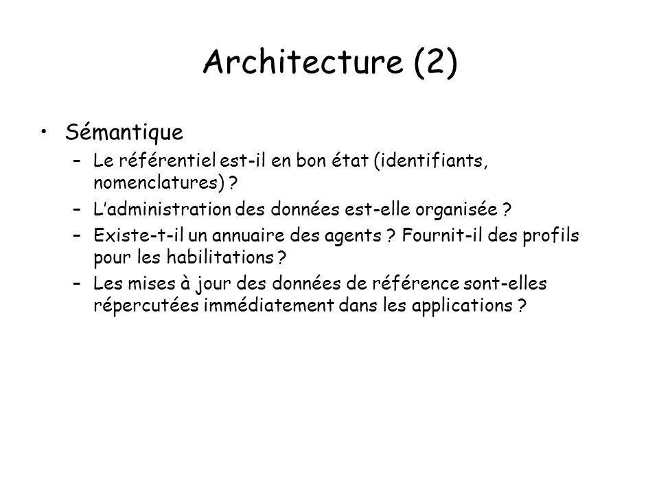 Architecture (2) Sémantique –Le référentiel est-il en bon état (identifiants, nomenclatures) .