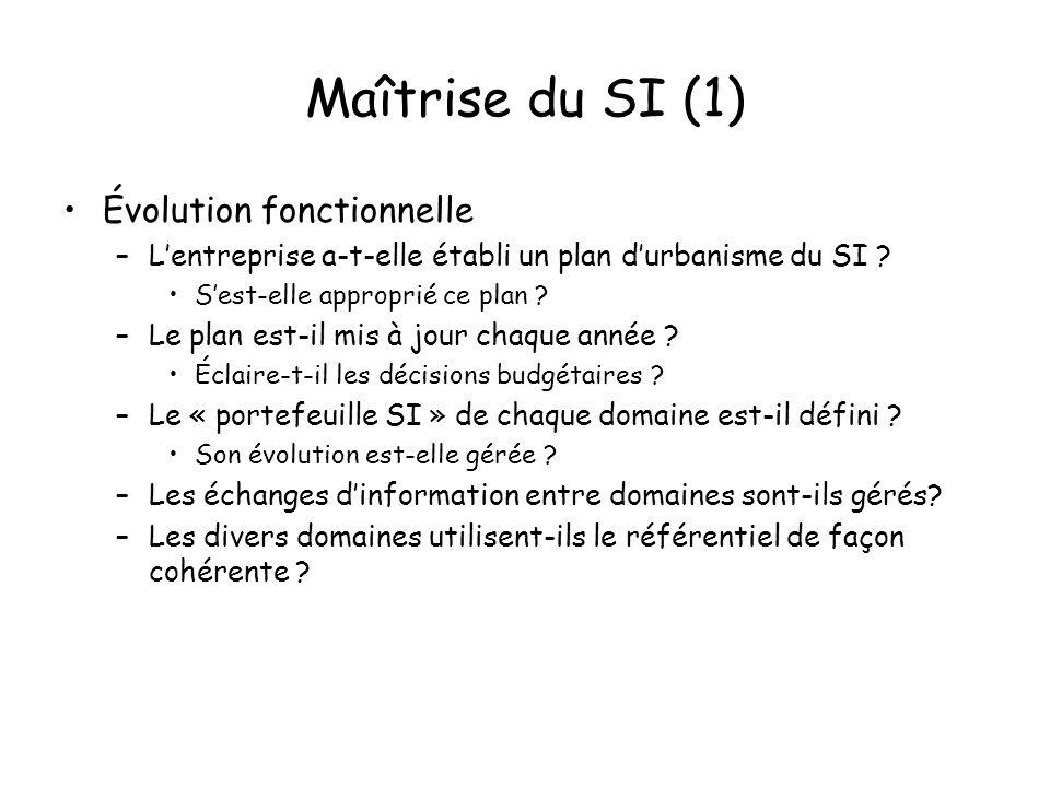 Maîtrise du SI (1) Évolution fonctionnelle –Lentreprise a-t-elle établi un plan durbanisme du SI .