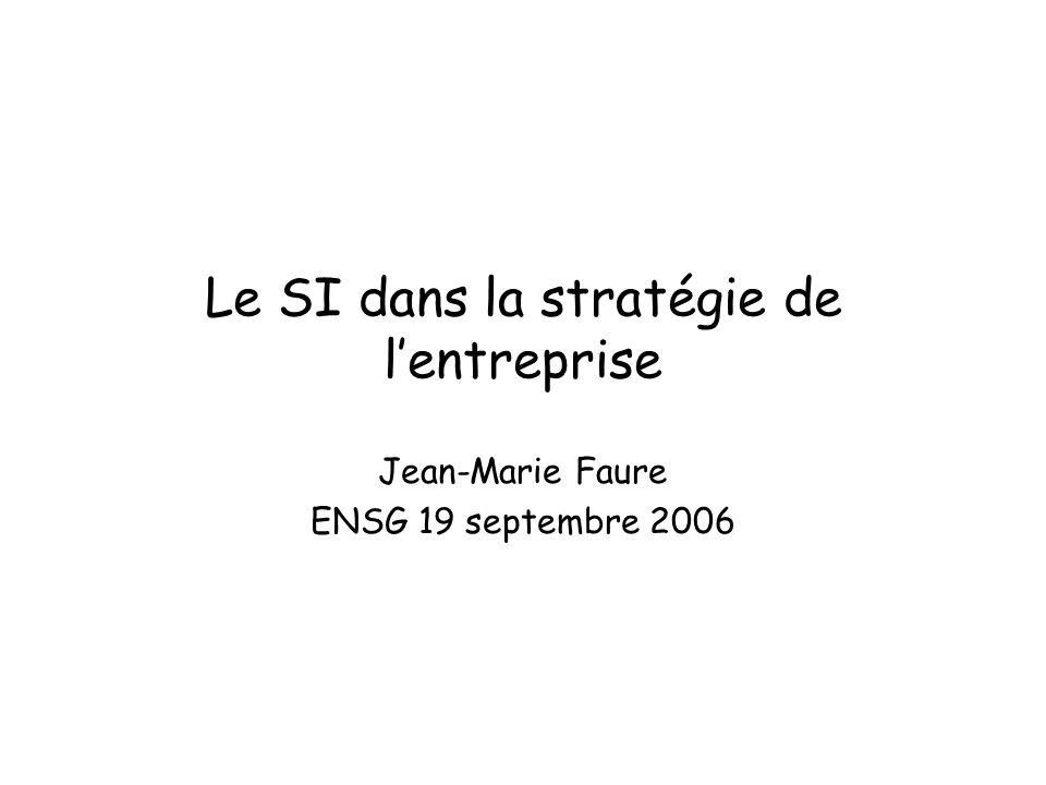 Le SI dans la stratégie de lentreprise Jean-Marie Faure ENSG 19 septembre 2006