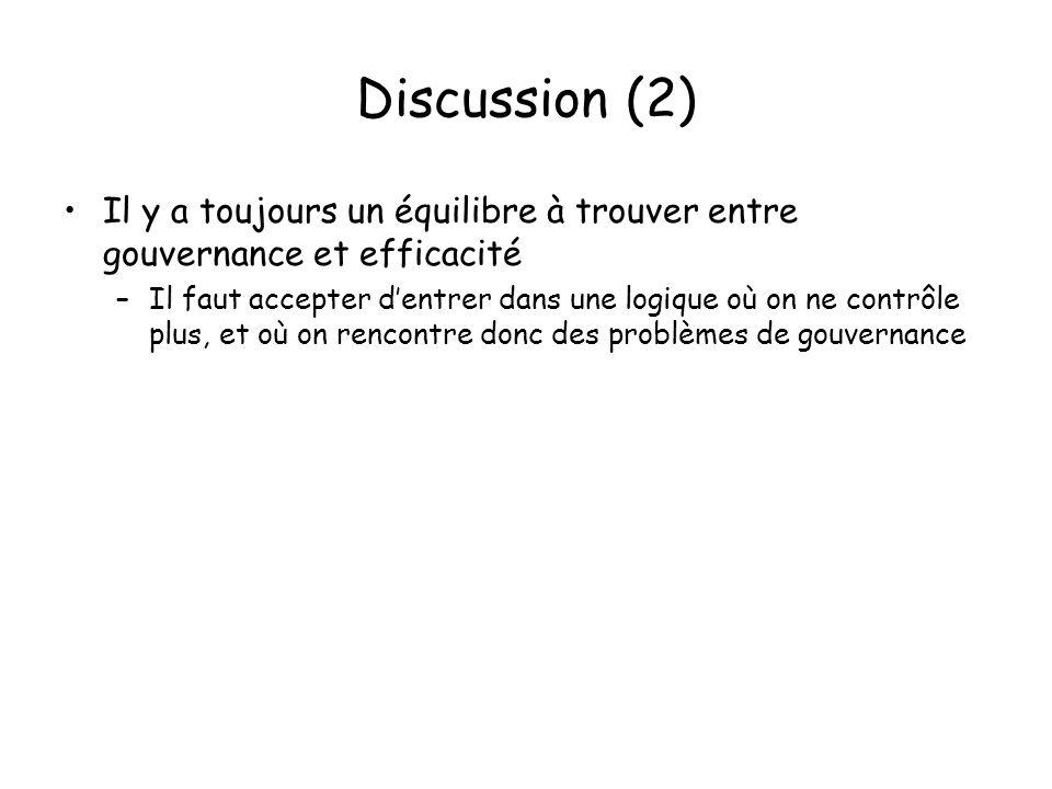 Discussion (2) Il y a toujours un équilibre à trouver entre gouvernance et efficacité –Il faut accepter dentrer dans une logique où on ne contrôle plus, et où on rencontre donc des problèmes de gouvernance