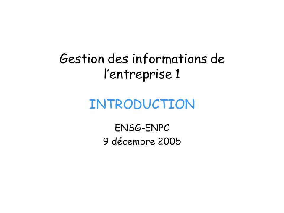 Plan du cours 09/12/05 (1) : Introduction (Michel Volle) 09/12/05 (2) : Organisation et gestion du SI (Michel Volle) 16/12/05 (1) : « Knowledge Management » (Christophe Talière, Air France) 16/12/05 (2) : Les systèmes de gestion des ressources humaines (François Andrieux, ANPE) 06/01/06 (1) : Les ERP (Jean-Michel Beving, SAP) 06/01/06 (2) : Linformatique de communication (Michel Volle) 27/01/06 : Génie sémantique (Michel Volle)