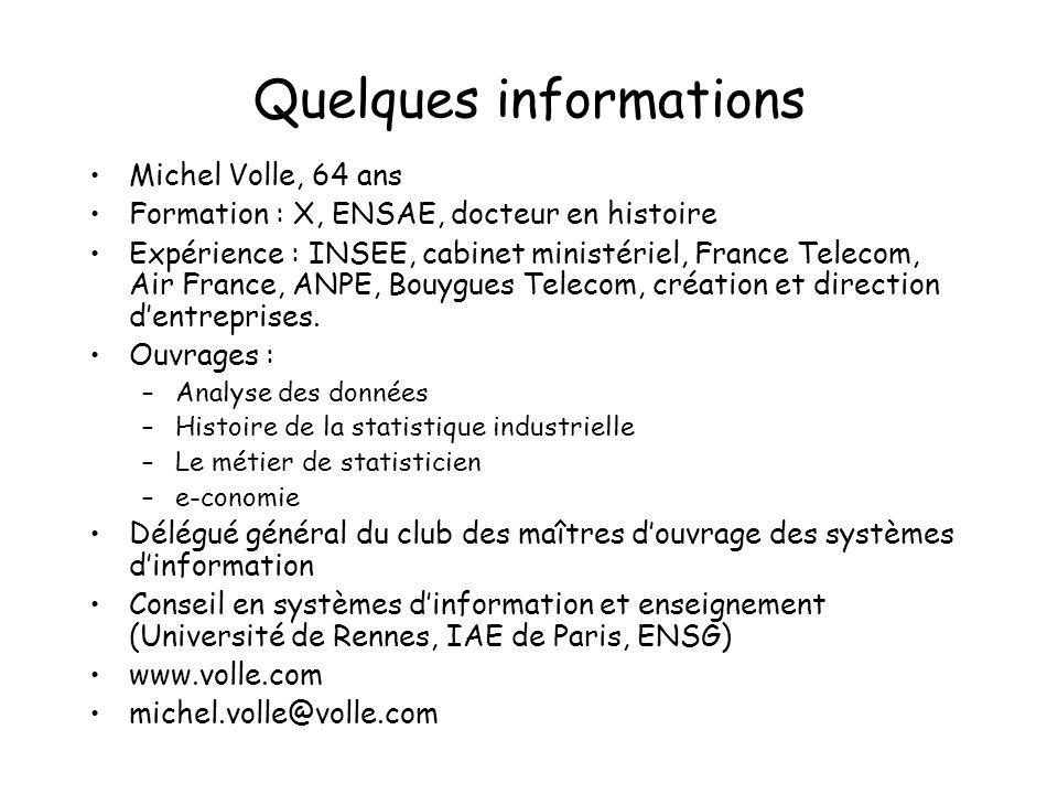 Quelques informations Michel Volle, 64 ans Formation : X, ENSAE, docteur en histoire Expérience : INSEE, cabinet ministériel, France Telecom, Air France, ANPE, Bouygues Telecom, création et direction dentreprises.