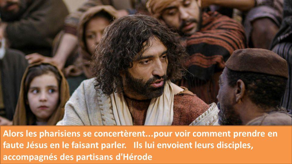 Alors les pharisiens se concertèrent...pour voir comment prendre en faute Jésus en le faisant parler. Ils lui envoient leurs disciples, accompagnés de