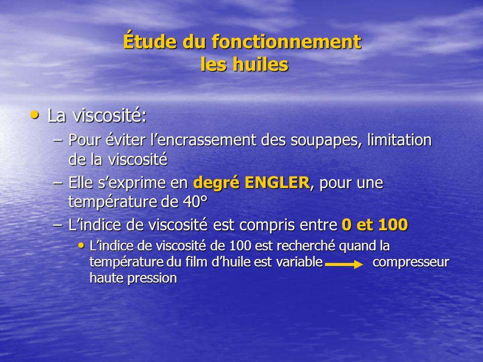 Étude du fonctionnement les huiles La viscosité: La viscosité: –Pour éviter lencrassement des soupapes, limitation de la viscosité –Elle sexprime en d