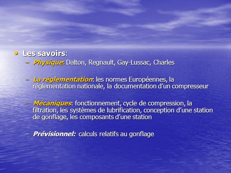 Les savoirs: Les savoirs: –Physique: Dalton, Regnault, Gay-Lussac, Charles –La réglementation: les normes Européennes, la réglementation nationale, la