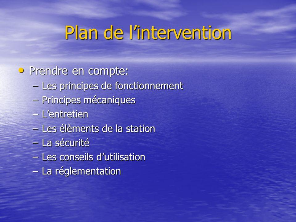 Plan de lintervention Prendre en compte: Prendre en compte: –Les principes de fonctionnement –Principes mécaniques –Lentretien –Les élèments de la sta