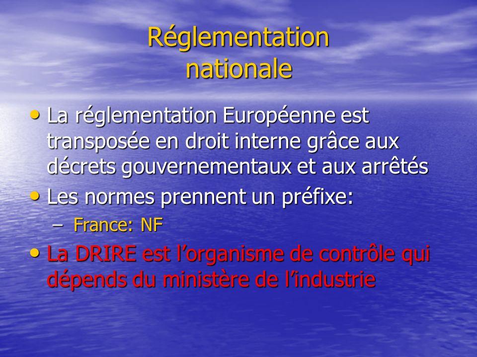 Réglementation nationale La réglementation Européenne est transposée en droit interne grâce aux décrets gouvernementaux et aux arrêtés La réglementati