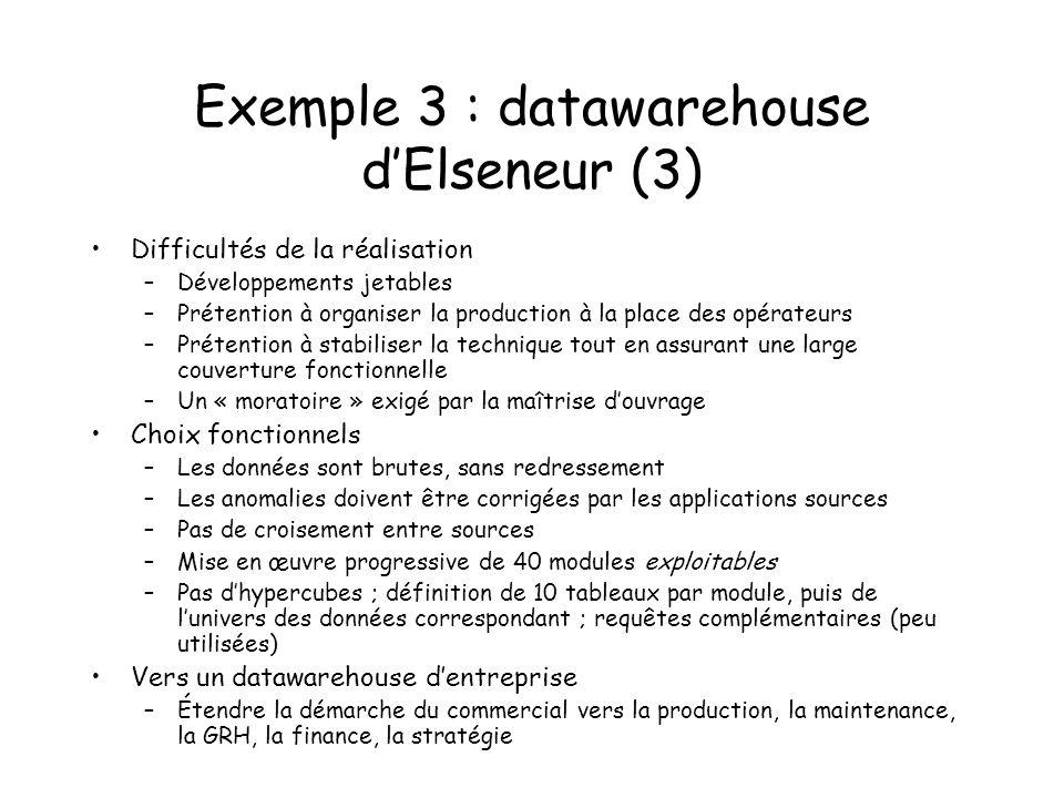 Exemple 3 : datawarehouse dElseneur (3) Difficultés de la réalisation –Développements jetables –Prétention à organiser la production à la place des op