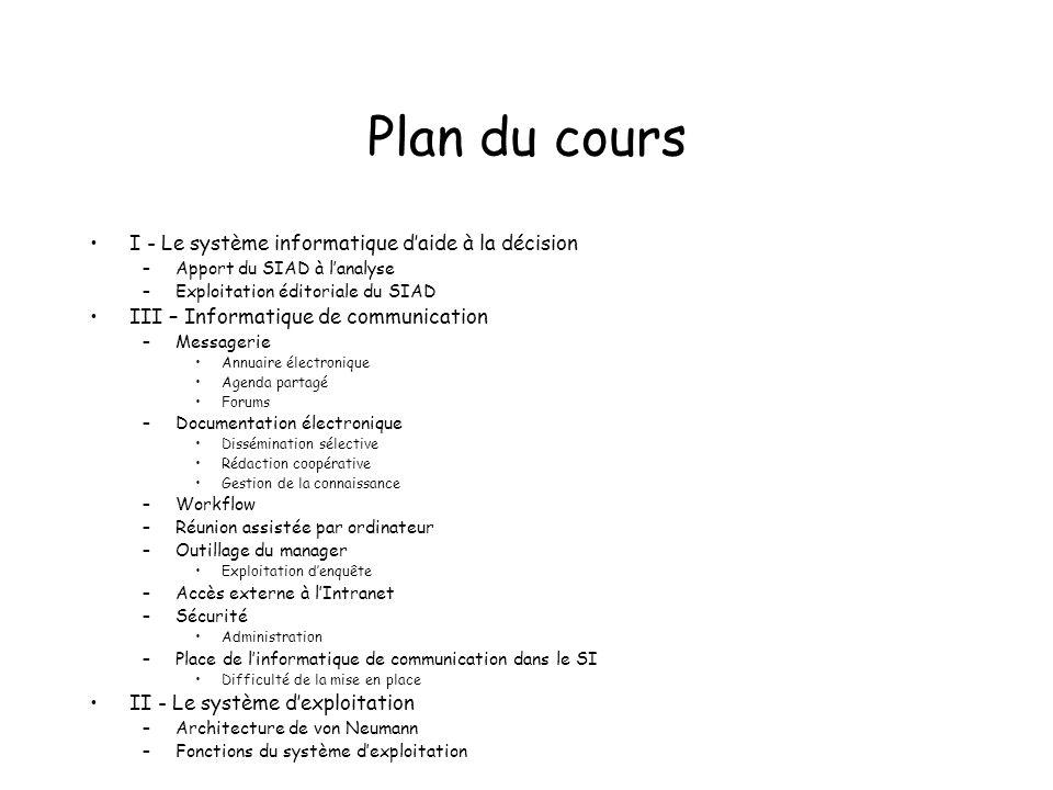 Plan du cours I - Le système informatique daide à la décision –Apport du SIAD à lanalyse –Exploitation éditoriale du SIAD III – Informatique de commun