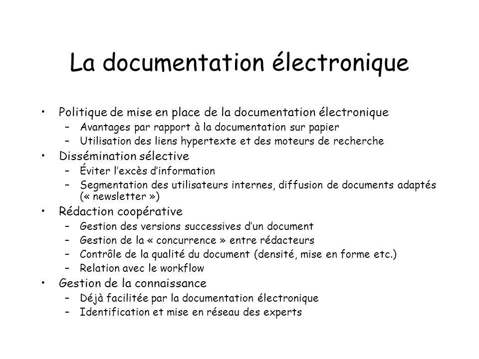 La documentation électronique Politique de mise en place de la documentation électronique –Avantages par rapport à la documentation sur papier –Utilis