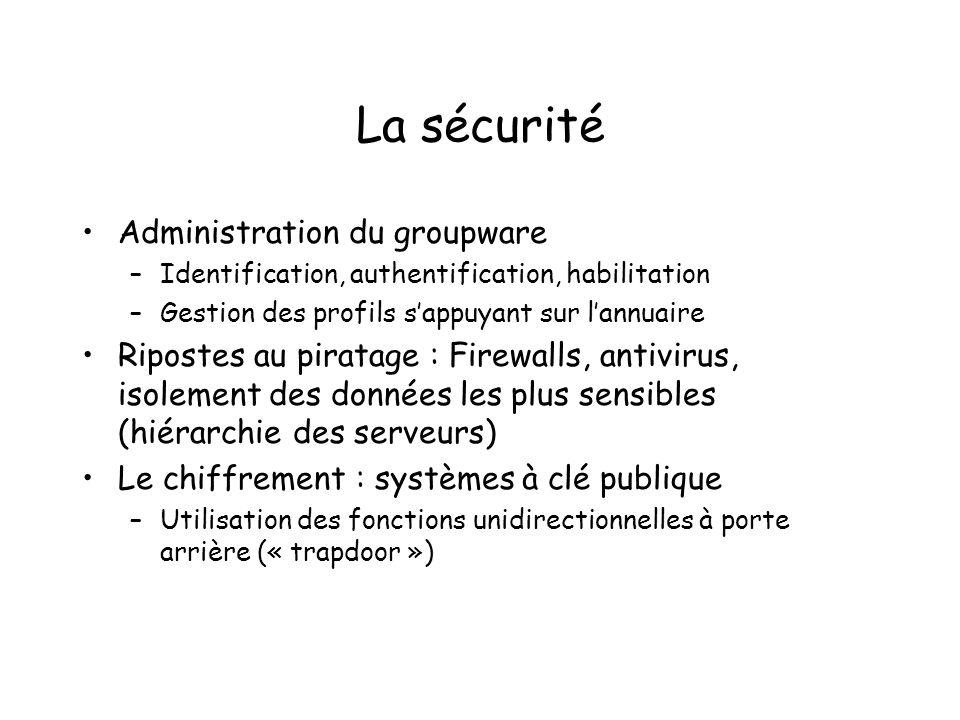 La sécurité Administration du groupware –Identification, authentification, habilitation –Gestion des profils sappuyant sur lannuaire Ripostes au pirat